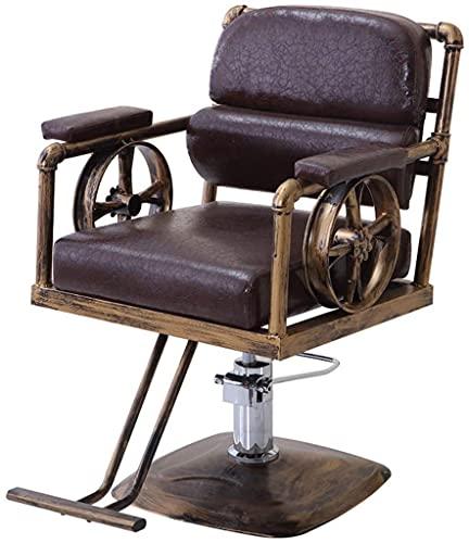 Parrucchiere Sedia per parrucchieri Sedia per parrucchieri Styling Sedia da barbiere per impieghi gravosi, Stile classico Stile Professionale Salon Beauty Barbiere Sedia idraulica con pedale in acciai