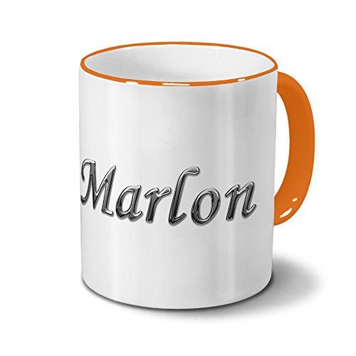 printplanet Tasse mit Namen Marlon - Motiv Chrom-Schriftzug - Namenstasse, Kaffeebecher, Mug, Becher, Kaffeetasse - Farbe Orange