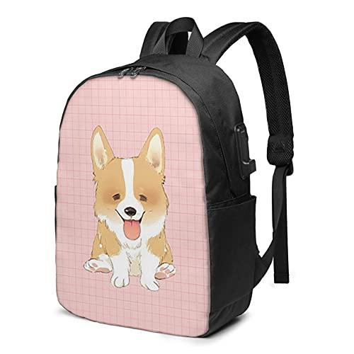 BYTKMFD Mochila de viaje con patrón de perro, mochila para ordenador portátil, para hombre y mujer, extra grande, antirrobo, con puerto de carga USB de 17 pulgadas, Negro, Talla única