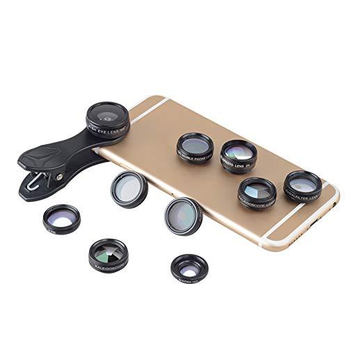 SSSabsir 10 in 1 Smartphone Lens Kit 15X Macro Lens 0.63X Wide Angle Lens 198-Degree Fisheye Lens X2 Telescopic Lens Filters