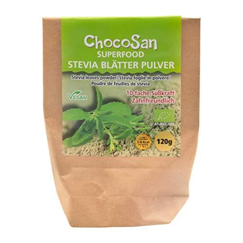 ChocoSan Bio Stevia Blätter gemahlen - grünes Stevia Pulver gesunder Zuckerersatz natürliches Süßungsmittel ohne Kalorien, 120g