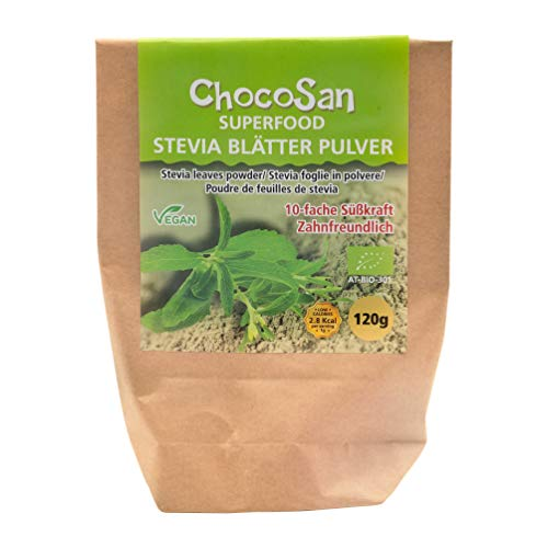 ChocoSan Bio Stevia Blätter gemahlen - grünes Steviablatt Pulver gesunder Zuckerersatz natürliches Süßungsmittel ohne Kalorien, 120g