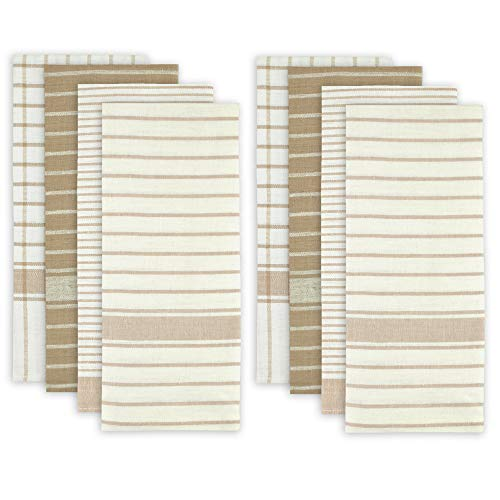 DII 100% Cotton, Ultra Absorbent, Drying & Cleaning, Everyday Kitchen Basic, Classic Stripe Dishtowel, 20 x 28', Set of 8- Taupe