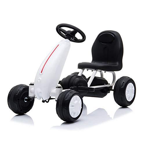 Moni Go Kart per Bambini, Auto a Pedali Blaze, Pneumatici in plastica, Schienale Alto, Fino a 30 kg, colorazione:Bianco