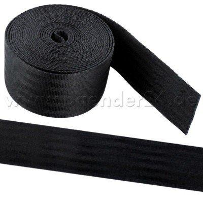 50m schwarzes Sicherheitsgurtband aus Polyamid, 48mm breit, bis 2t belastbar