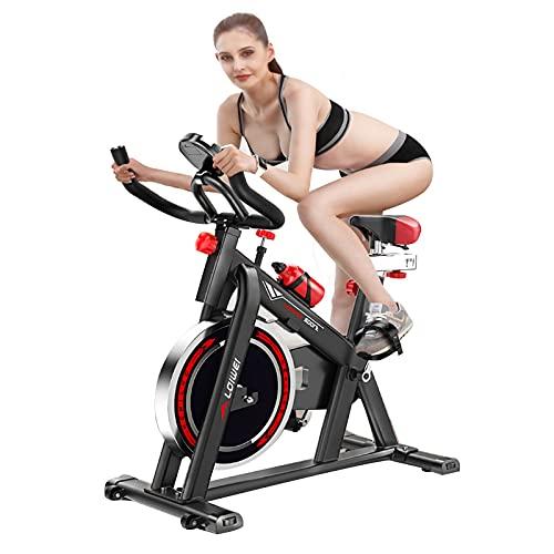 FCFLXJ Bicicleta de Ejercicio para Interiores Pantalla de Ciclismo giratoria Profesional 6 kg de Gran tamaño Volante de inercia de Acero Inoxidable, Temporizador, Velocidad, Distancia
