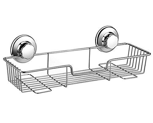 ARCCI, Ventose di Supporto, antiruggine, per Cucina, Bagno, con portashampoo da Doccia; Rettangolare. Materiale: Acciaio Inox