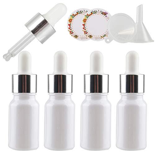 TIANZD 4 Pieza, Vacío 10ml Perle Blanco Botellas de Cuentagotas Cristal, con Anillo de Plata y pipeta, para Aromaterapia Aceites Esenciales y Perfume