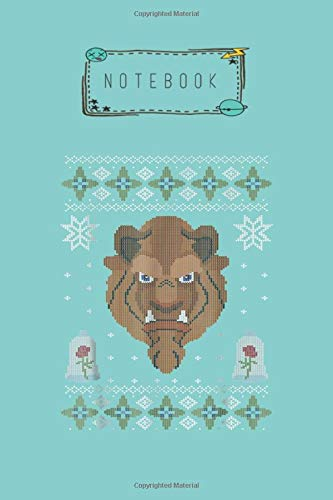 Notebook: Disney Beauty The Beast Scowl Christmas Sweater Blank Notebook with Rule Lined College 120 Pages and Journal for Friends and Family Size 6in x 9in