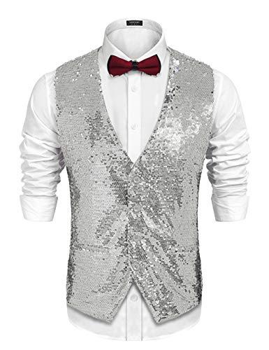 Gilet in paillettes d/'argento-Regular Fit-Festival Costume