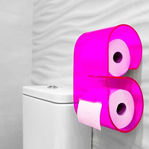 Portarrollos de papel higiénico de metacrilato de original diseño y fácil instalación. Accesorio decoración baño soporte de rollo para pared del cuarto de baño. Dispensador de papel para WC. (Rosa)