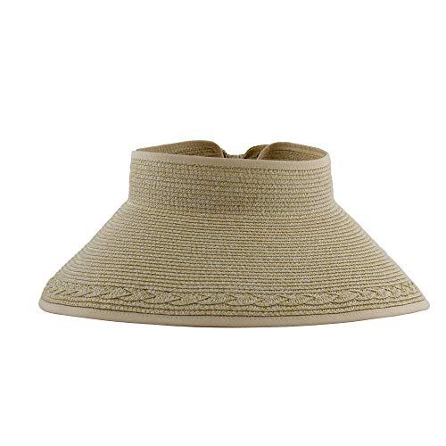 Sombrero Viseras Mujer Verano de Paja Vacío con ala Grande Gorra Pamela de Sol Playa Viaje Vacaciones Adjustable Altura 18CM (Beige, YY-11)