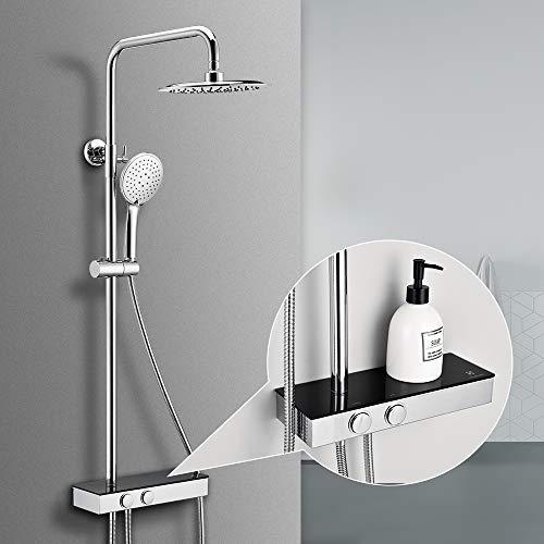 Homelody Duschsystem ohne Armatur mit Regal Regenduschset 3 Strahlarten Handbrause Kopfbrause Duschsäule set für bad
