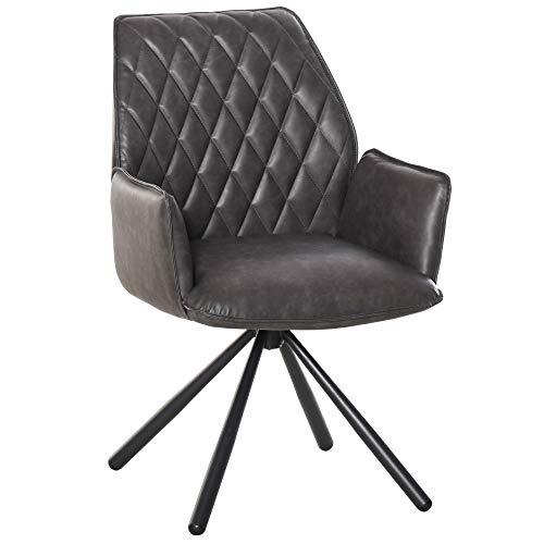 HOMCOM Esszimmerstuhl Polsterstuhl Wohnzimmerstuhl Sessel 360° drehbar Küchenstuhl Armlehnstuhl mit Rückenlehne Kunstleder Stahlbeine Grau 57 x 61 x 86,5 cm
