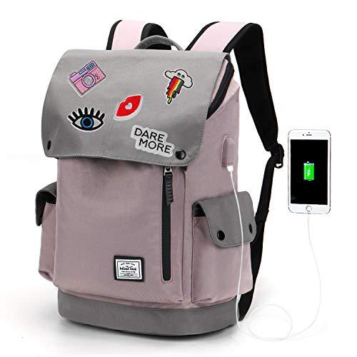 WindTook USB Anschluss Laptop Rucksack Damen Herren Daypack Schulrucksack für 15,6 Zoll Notebook, Wasserabweisend, Lila, mit Aufnähen