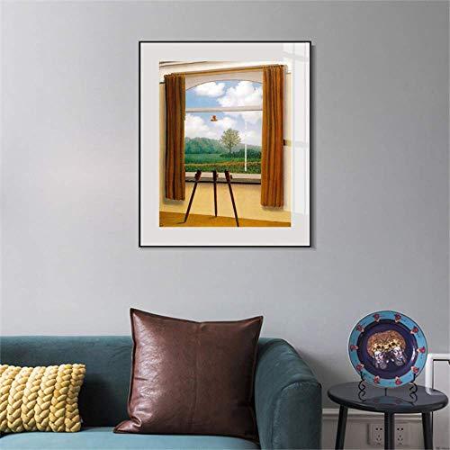 liwendi Quadro su Tela La Condizione Umana di Rene Magritte Famosi Poster Stampa Moderna Immagine da Parete per Soggiorno Camera da Letto 30X40 Cm Senza Cornice