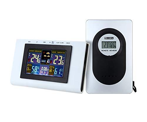 WNZL Draadloze Weerstation met Binnen/Outdoor Draadloze Sensor Weerstation Klok met Kleur Pictogrammen voor Voorspelling/Temperatuur met Waarschuwingen/Vochtigheid