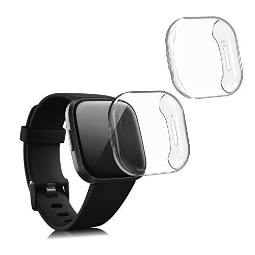 kwmobile Set 2X Compatibile con Fitbit Versa 3   Sense Cover Protettiva - Custodia Full Body Smartwatch - in Silicone - Trasparente