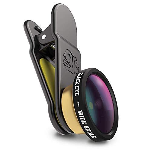 Black Eye HD Wide Angle 160° Obiettivo grandangolo per Smartphone costruiti Prima del 2018 (Fissaggio Universale a Clip, Doppio Vetro Rivestito, Funziona con DualCams)