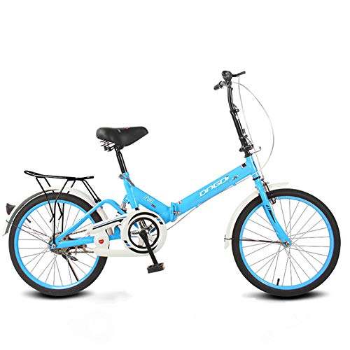 20 Zoll Faltrad Single Speed ​​Stoßdämpfer Mini Ultra Light Portable,Blue