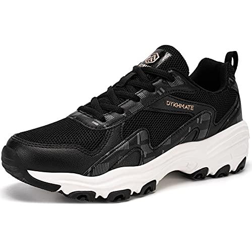 DYKHMATE Mujer Zapatillas de Deportivos Vintage Zapatos de Running para Gimnasia Ligero Sneakers Malla Transpirable con Cordones para Correr Fitness Atlético Caminar (Blanco Negro,36 EU)