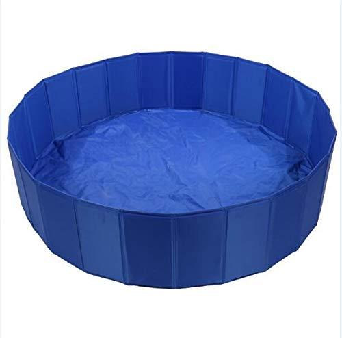 L.J.JZDY Haustier-Pool Faltbare Hund Pool Schwimmbecken PVC Hund Katze Sommer Bade Tub Großer Platz zusammenklappbaren Außen Washing Pond (Color : Bule, Size : Diam 80cm deep 20cm)