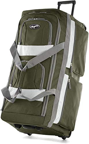 Olympia 8 Pocket Rolling Duffel Bag, Green, 22 inch