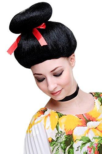 WIG ME UP ® - 2120-P103 Karneval Fasching Perücke Geisha Asien Japan Cosplay China Girl Schwarz Perrücke