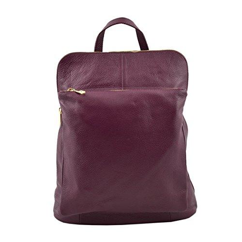 Dream Leather Bags Made in Italy toskanische echte Ledertaschen Rucksack Und Schultertasche Aus Echtem Leder Farbe Bordeaux - Italienische Lederwaren - Rucksack