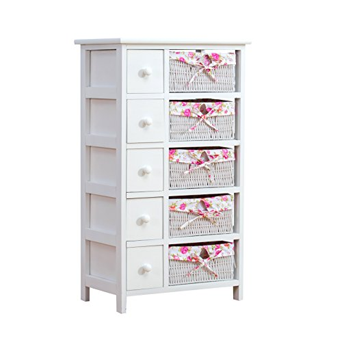 Cherry Tree Furniture White 5-Layer Cabinet Drawer Chest with Floral Wicker Baskets