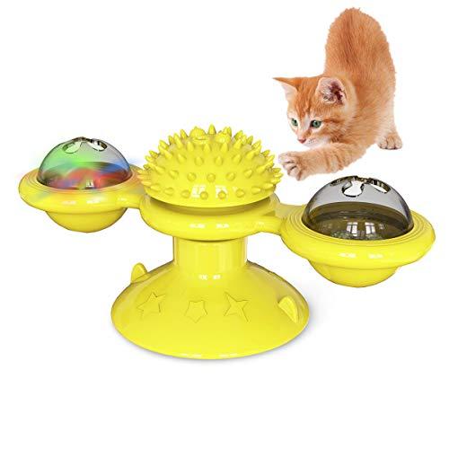 CCAT 風車 キャット おもちゃ LED ボール と キャットニップ ボール付き 猫 ターンテーブル からかい インタラクティブ おもちゃ 子猫 風車 ボール マッサージ スクラッチ くすぐり 猫 ヘア ブラシ イエロー