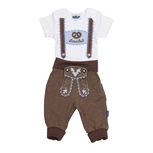 Trachten Set für Lausbuben in Größe 80, bestehend aus Baby Body mit kurzem Arm und Applikation Hosenträger und Baby Jogginghose Lederhosen Look, braun - EIN tolles Geschenk