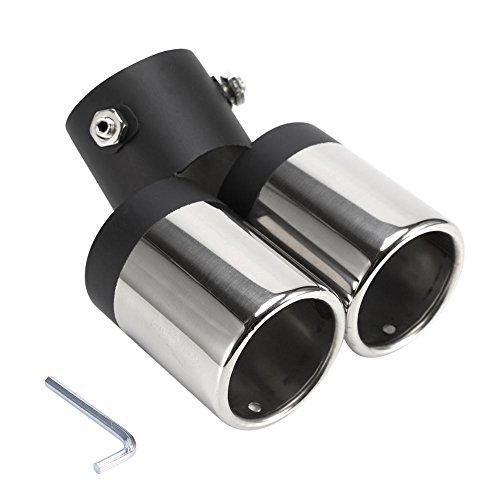 Qiilu 85 * 60 * 160MM Tubo di scarico gemellare Doppio scarico marmitta silenziatore tubo terminale terminale scarico auto Copertura Universale in Acciaio Inox per Tubo di Scarico Auto