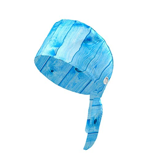 Working Cap Blue Wooden Wall Old Rustic Board Printed Upgrade Sweatband Adjustable with Buttons Tie Back Hats Bouffant Head Covers for Women Men