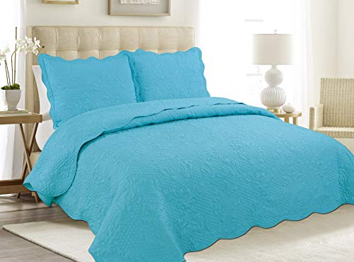 """ALL FOR YOU 3pc Reversible Bedspread, Coverlet,Quilt Set- Turquoise (Twin 68""""x86"""")"""