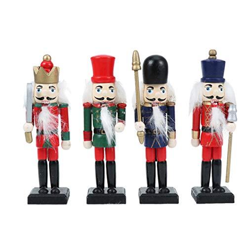 Amosfun 4pcs Scottish Soldat Nussknacker Figur Weihnachtsschmuck aus Holz Nussknacker Soldat Marionette Figuren Puppe