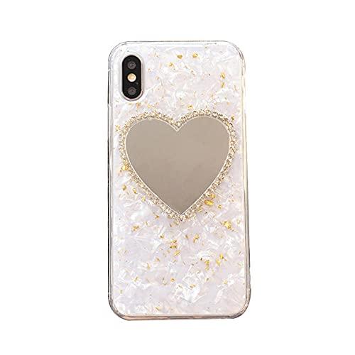 JINGJINGJIAYOU Espejo en Forma de corazón de Fundas y Carcasas para teléfonos móviles Compatible 7 Plus/8/8 Plus Adecuado para Todos Los Modelos De La Serie iPhone TPU Silicona Caja del teléfono