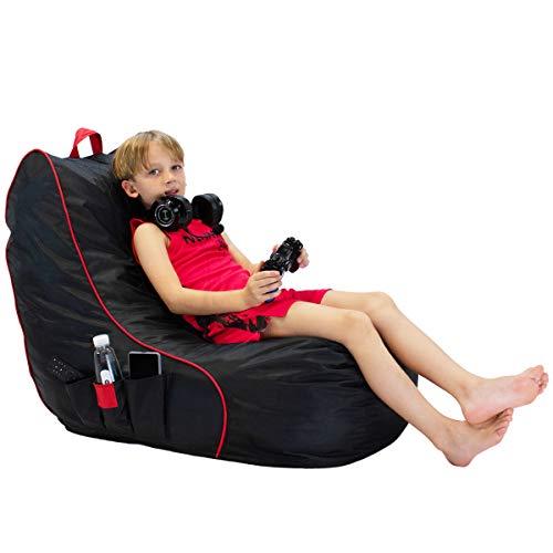 Yoweenton Gaming Bean Bag Chair for Kids Teenage Black Floor Sofa Beanbag Chair with Memory Foam Liner for PS4, Xbox 360, Xbox One, Nintendo DS, Nintendo Switch, Smart Phone