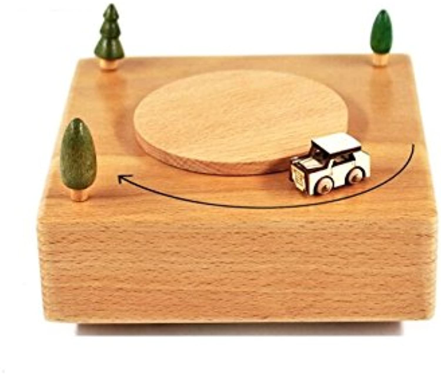 Interesting Toy Wooden Square Shape Base Music Box Base and Mini CarSmall