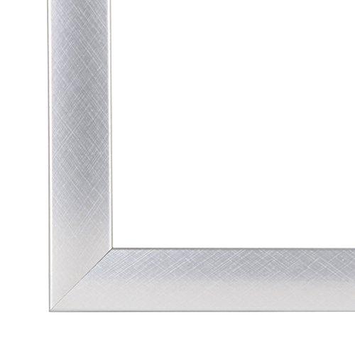 Olimp Bilderrahmen 80x110 oder 110x80 cm in ALU Criss Cross (ALU GEBÜRSTET) normal Kunstglas und Rückwand, 35 mm breite MDF-Leiste mit Dekor Folienummantelung