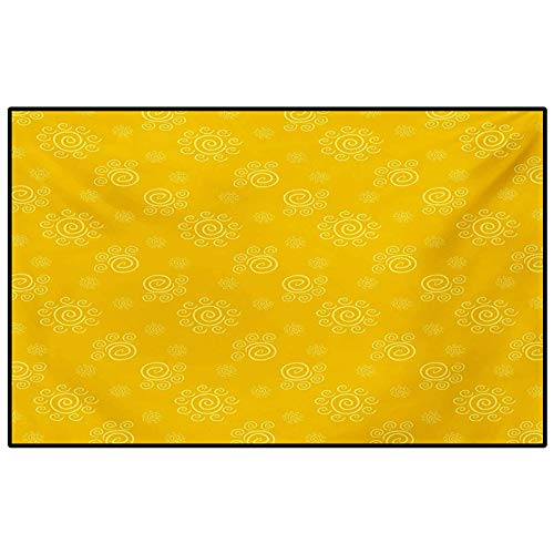 Yellow Bedroom Rugs Patio Rug Rug pad Sun Solar Hand Drawn Style Pattern with Little Spiral Spots Like Hot Summer Day Inspired Carpet Chair mat Yellow 4.5 x 5.2 Ft