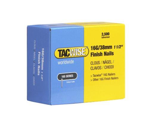 Tacwise 0296 Clous de Finition 16G/38 mm, Argent, Boîte de 2.500