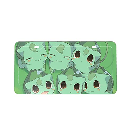Anime Bulbasaur Protection License Plate Car Frame Fashion Personality, Used for Women and Men Car Decoration DIY Custom Patterns