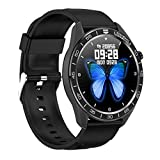Reching Smart Watch for Men with Message Notification, Fitness Tracker Watch with 1.3' Full Touch Screen IP68 Waterproof and Heart Rate/Sleep Monitor GPS Pedometer Stopwatch for Kids Men Women-Black