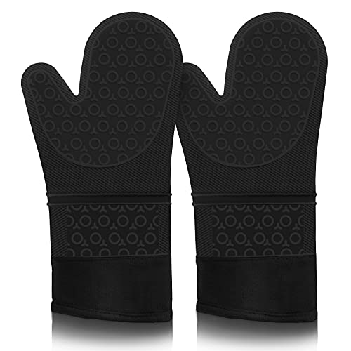 Oven Mitts, VEHHE Extra Long Silicone Oven Mitt Heat Resistant 500°F, Food Safe Baking Gloves with Soft Inner Lining, Non-Slip Pot Holders for Kitchen Cooking Grilling, 15 Inch Black 2-Pack