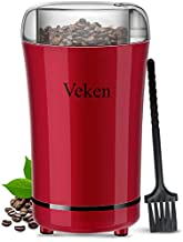 Veken Coffee Grinder Electric Spice & Nut Grinder with Stainless Steel Blade, Detachable Power Cord Coffee Bean Grinder for Coffee Grounds, Grains, 12 Cups (Red)