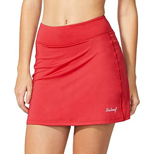 BALEAF Women's Athletic Skorts Lightweight Active Skirts with Shorts Pockets Running Tennis Golf Workout Sports Red Size M