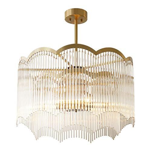 Lámpara de techo de cristal para salón en casa totalmente de cobre, restaurante creativo, dormitorio cálido, sala de estudio, luz colgante [Clase energética A+]