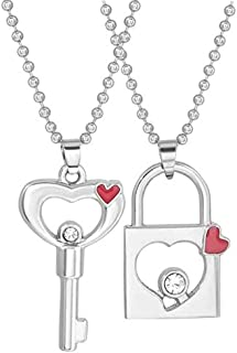 Utkarsh Unisex Valentine's Day Special Metal Heart Design Lock And Key Romantic Cubic Zirconia Memorial Keepsake Padlock C...
