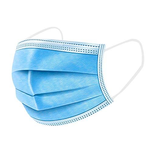 Hanomes Einmal Mundschutz 25pcs 3-Lagige, Blau Verdicken Staubdicht Atmungsaktive Mund und Nasenschutz Halstuch Multifunktionstuch für Damen und Herren